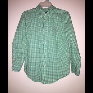 Boys Ralph Lauren gingham button up shirt size 7